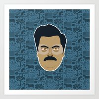 parks and recreation Art Prints featuring Ron Swanson - Parks and recreation by Kuki
