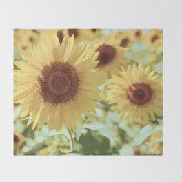 Yellow Sunflowers Throw Blanket