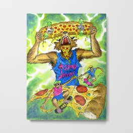 Teenage Wolves Skate the Slice Metal Print