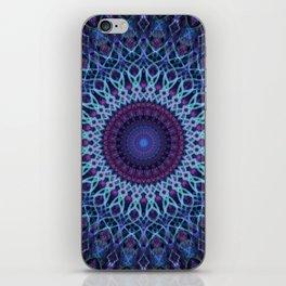 Mandala in dark and light blue tones iPhone Skin