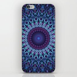 Mandala in dark and light blue tones iPhone Skin