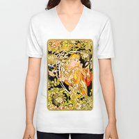 mucha V-neck T-shirts featuring Marguerite's Bower, Mucha by Vintage Era Art