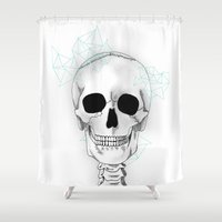 skeleton Shower Curtains featuring skeleton by Sophie Rousseau