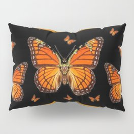 ABSTRACT ORANGE MONARCH BUTTERFLIES BLACK  PATTERNS Pillow Sham