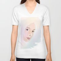 women V-neck T-shirts featuring women by wit_art