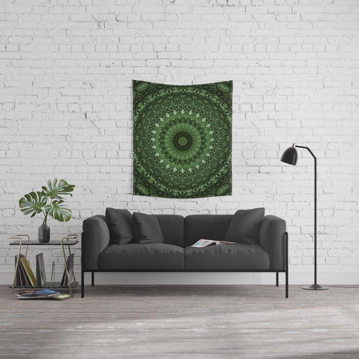 Mandala in olive green tones Wall Tapestry