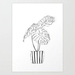 Monstera plant in stripy pot Art Print
