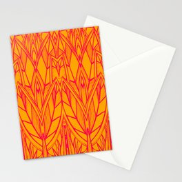 Modern Tropical Leaves Abstract - Orange Pink Stationery Cards