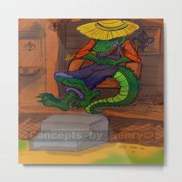 The Cajun Gator (Flat Color Version) by: Henry Wardsworth aka Concepts_By_Henry Metal Print