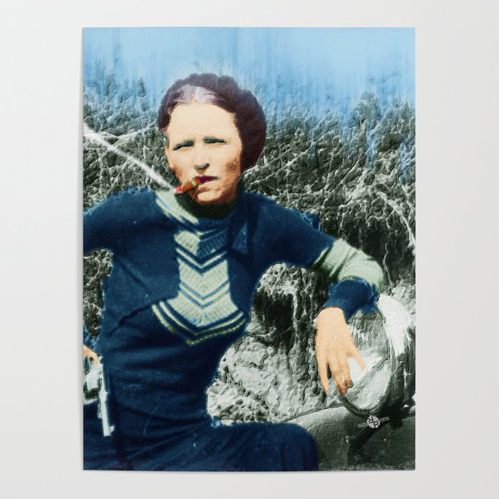 Painting Of Bonnie Parker Of Bonnie And Clyde Mugshot Cigar Gun Poster by  artwordsapparel