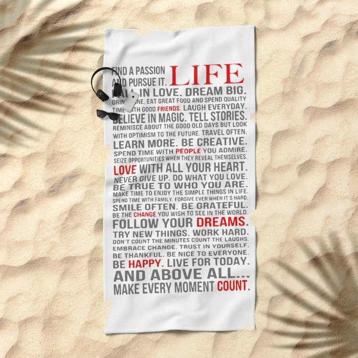 All about life Beach Towel