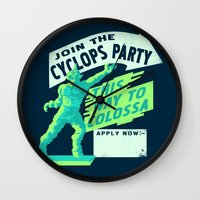 cyclops Wall Clocks featuring Cyclops Party by Hillary White