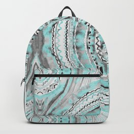 Teal & Blue Complexities - a Watercolor Tribal Pattern Backpack