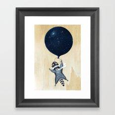 Raccoon Balloon Framed Art Print