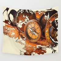 compass Wall Tapestries featuring Vintage Compass by Robin Curtiss