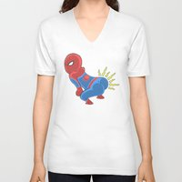 booty V-neck T-shirts featuring Spidey Booty by Pengew