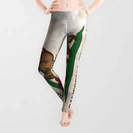 California Republic state Bear flag on wood Leggings