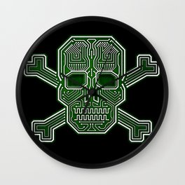 Hacker Skull Crossbones (isolated version) Wall Clock