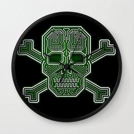 Hacker Skull Crossbones (isolated version) Wall Clock