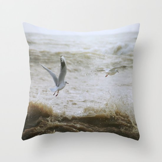 Of wind and waves and flight... Throw Pillow