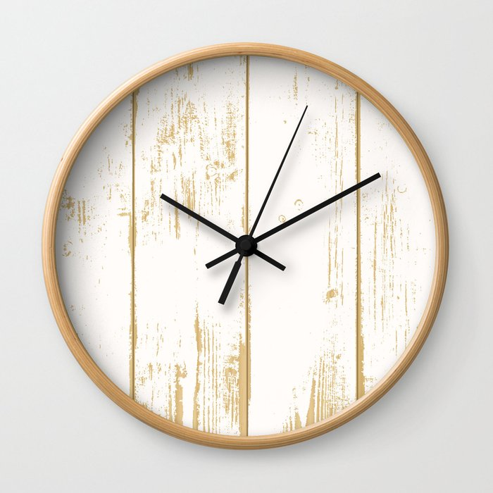 Rustic wooden texture. White and gold antique wood. Wall Clock