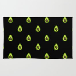 Avocado Hearts (black background) Rug