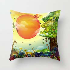 Jungle of colors Throw Pillow