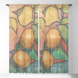 Coral Sunset over Lemon tree Sheer Curtain