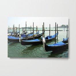 Cobalt Blue Gondola's of Venice Italy Metal Print