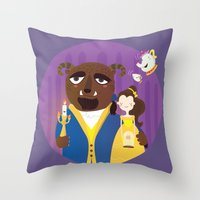 beauty and the beast Throw Pillows featuring Beauty and beast by Maria Jose Da Luz