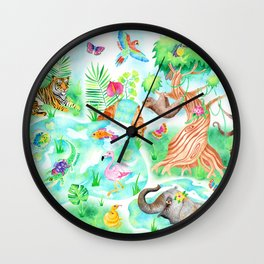 Jungle Adventures in Watercolour Wall Clock