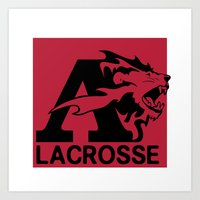 lacrosse Art Prints featuring Albright Lacrosse by Mike Stark