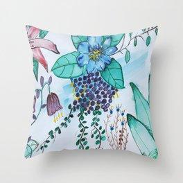 Botanical Blues  Floral Watercolor Throw Pillow