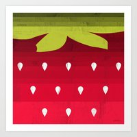 strawberry Art Prints featuring Strawberry by Kakel
