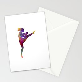 Woman boxer boxing kickboxing silhouette isolated 01 Stationery Cards