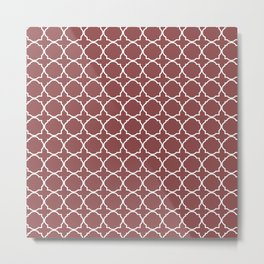 Vintage burgundy white elegant moroccan quatrefoil Metal Print