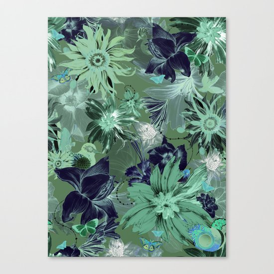 Flora Fauna (Pattern) Canvas Print