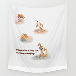 Greeting for Quitting Smoking- Dog Wall Tapestry