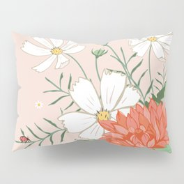 Cosmos and Dahlia on Pink Pillow Sham