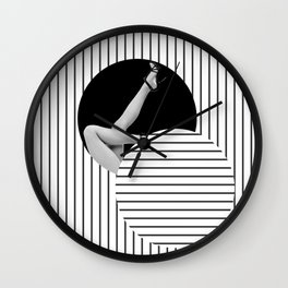 Black and White Stripes - Retro Girl Pin Up - Collage Artwork Wall Clock