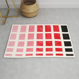 Colorful Red Geometric Square Pattern With Black Accent Mid Century Art Rug