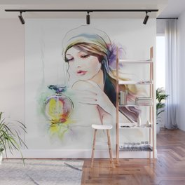 Watercolor Girl V4 Wall Mural
