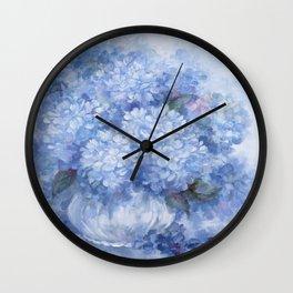 Hydrangeas in Blue Wall Clock