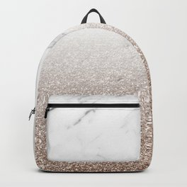 Glitter ombre - white marble & rose gold glitter Backpack