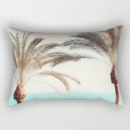 Modern California Vibes pink sky blue seascape tropical palm tree beach photography Rectangular Pillow