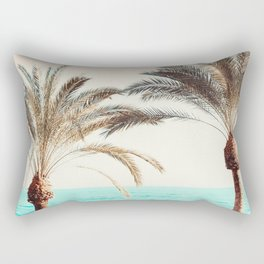 Modern California Vibes pink sky blue seascape tropical palm tree beach photography Rectangular Pillow