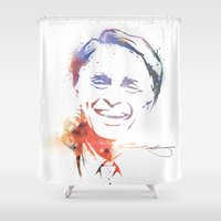 carl sagan Shower Curtains featuring Splatter Sagan by KellyBK