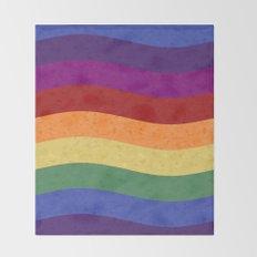 Wavy Rainbow Colors Throw Blanket