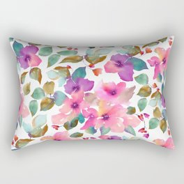 Pink and purplre florals. Watercolor flowers Rectangular Pillow