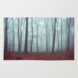 Forest Magic - Foggy Forest Scene Rug
